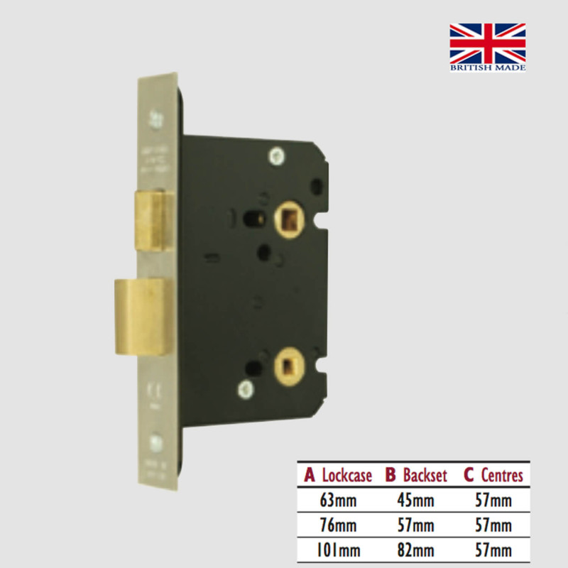 57mm Polished Brass Bathroom Deadbolt Latch Lock Bolt Through 76mm