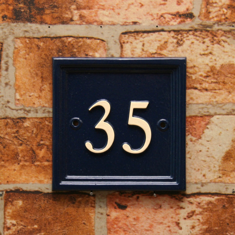 Square house number sign
